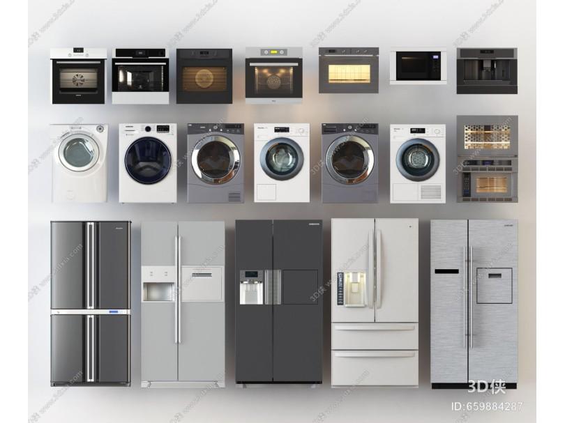 现代风格日用电器 冰箱 洗衣机 烤箱