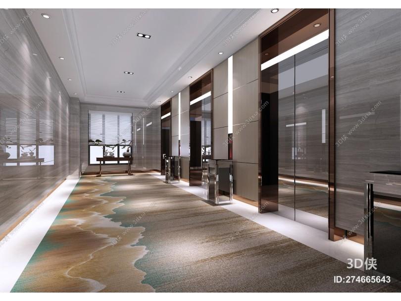 现代风格电梯过道 电梯按钮 电梯套