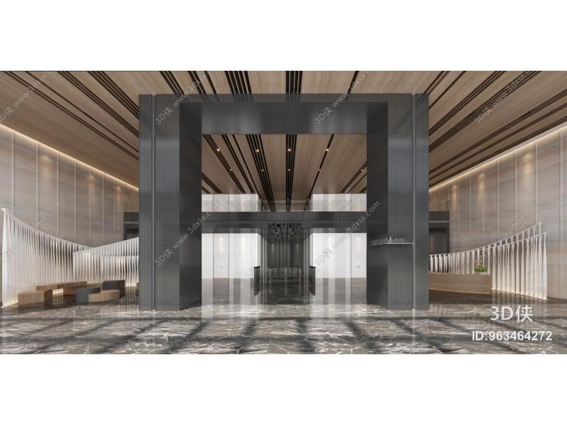 现代办公商务大堂 电梯厅 前台接待
