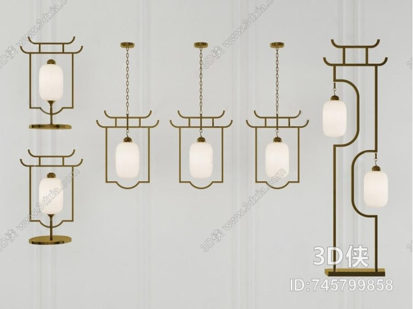 新中式灯具组合