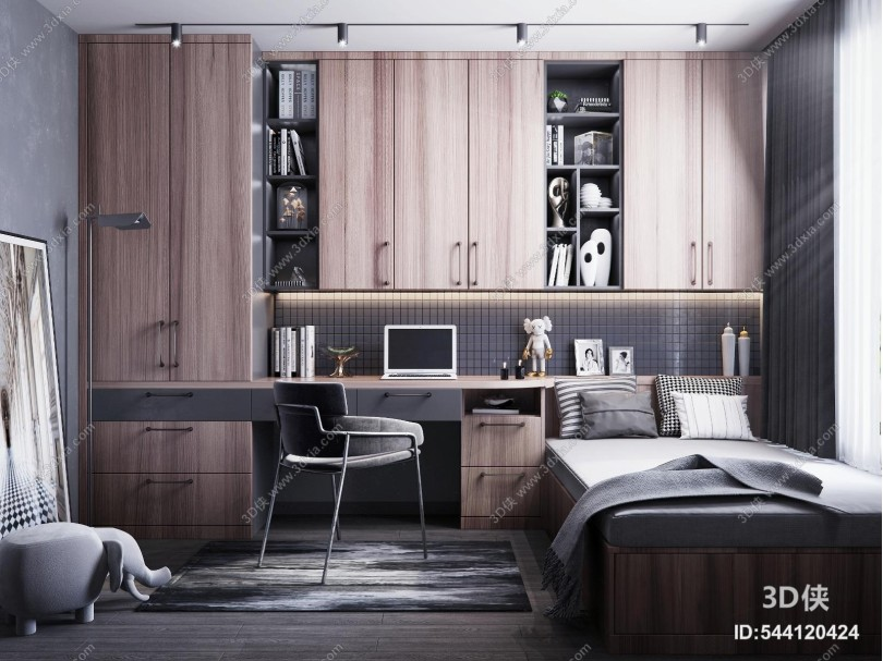 现代风格榻榻米书房 椅子 装饰品 书籍 书桌 书柜