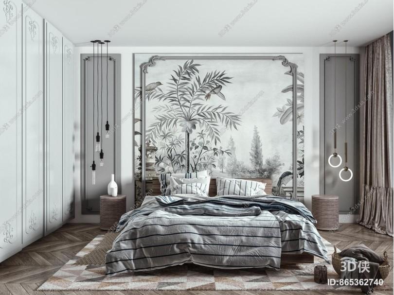 欧式简约双人床组合 床头柜