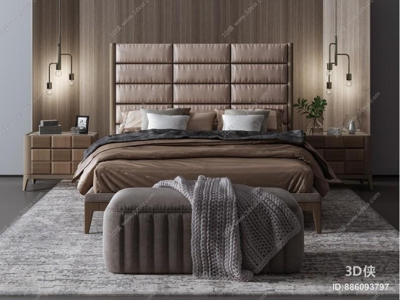 现代双人床 床头柜 抱枕 床尾凳